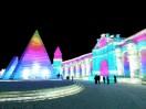Neon lit buildings at Harbin snow & ice world 2018