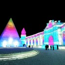 Neon lit buildings at Harbin snow & ice world 2018